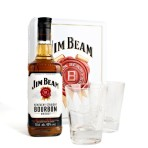 Jim Beam 0.7L met.box+szklanki
